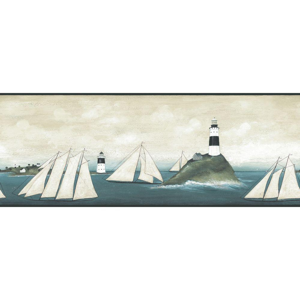 The Wallpaper Company 10.25 in. x 15 ft. Neutral Sailboat and Lighthouse Border-DISCONTINUED