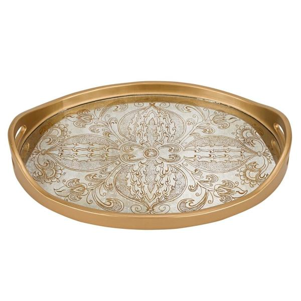 undefined 18 in. x 12 in. Manta Gold Oval Tray