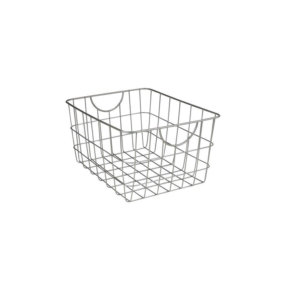 Utility 11.75 in. W x 15 in. D x 8 in. H Basket in Satin Nickel Powder Coat