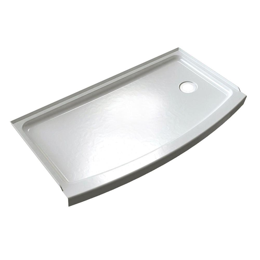 American Standard Ovation Curve 30 in. x 60 in. Single Threshold Right Hand Drain Shower Base in Arctic