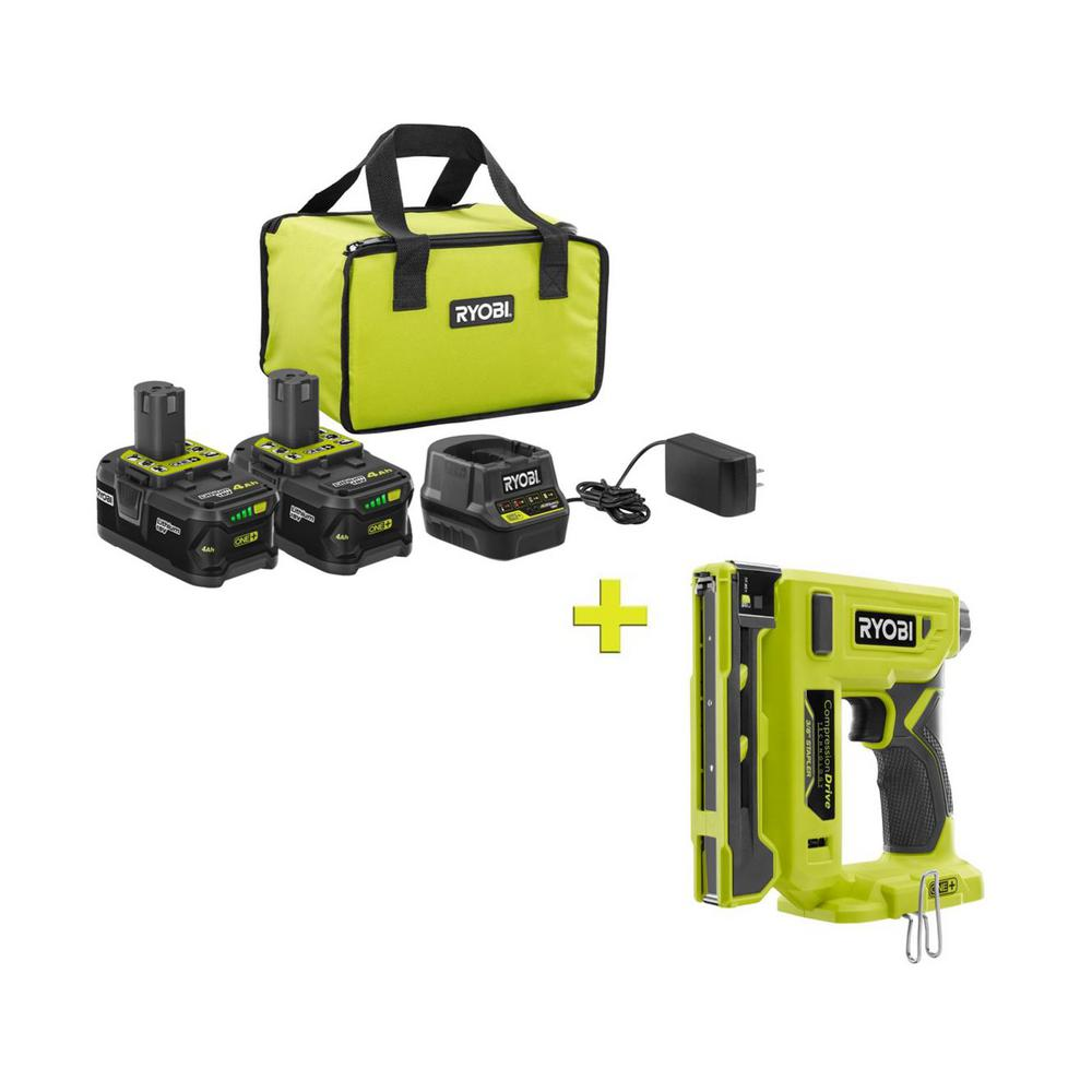 RYOBI 18-Volt ONE+ High Capacity 4.0 Ah Battery (2-Pack) Starter Kit with Charger and Bag with FREE ONE+ Crown Stapler was $301.0 now $99.0 (67.0% off)