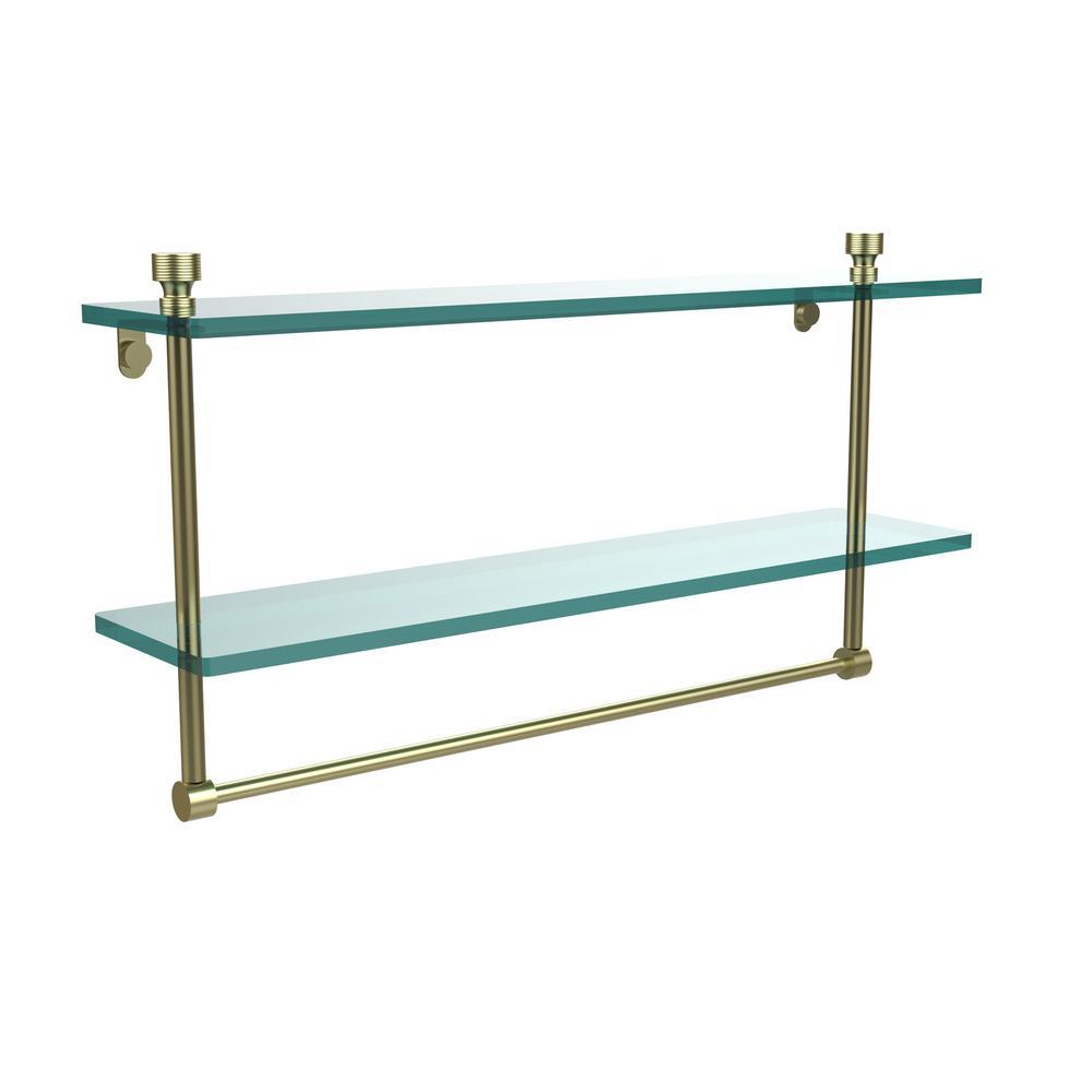 Foxtrot 22 in. L  x 12 in. H  x 5 in. W 2-Tier Clear Glass Bathroom Shelf with Towel Bar in Satin Brass