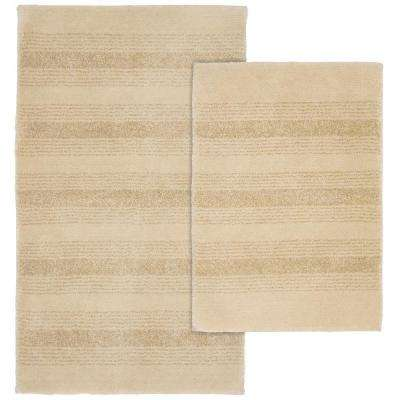 Essence Linen 21 in. x 34 in. Washable Bathroom 2-Piece Rug Set