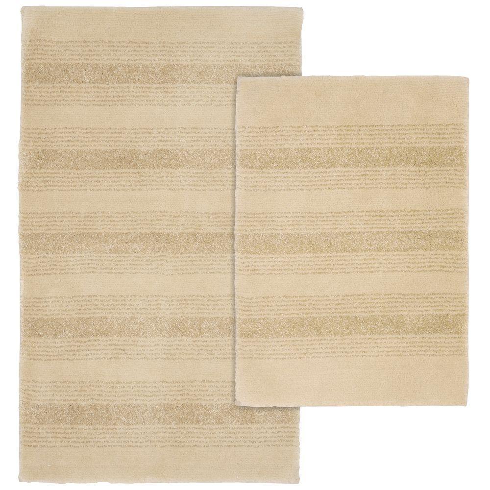 Essence Linen 21 in. x 34 in. Washable Bathroom 2-Piece Rug Set
