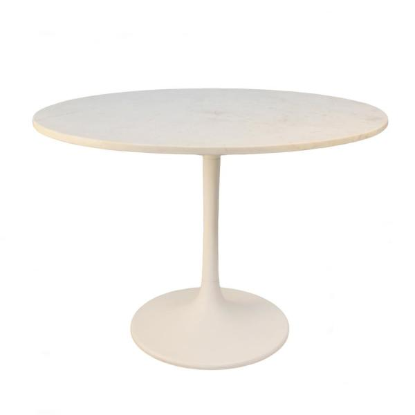 40 In Enzo White Round Marble Top Dining Table