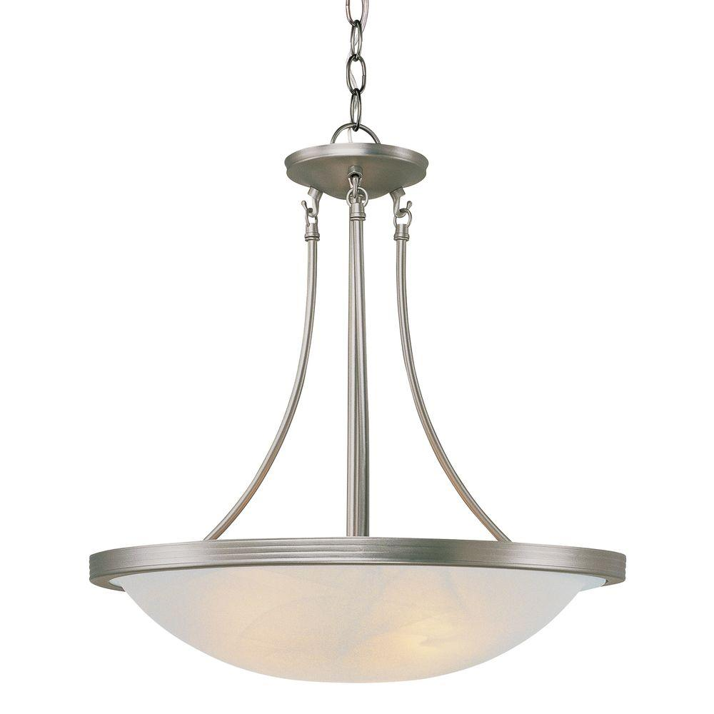 Stewart 3-Light Brushed Nickel CFL Ceiling Pendant