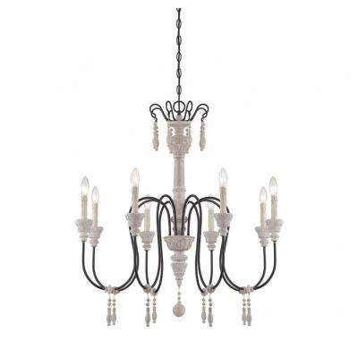 Ayana 8-Light White Washed Driftwood Chandelier