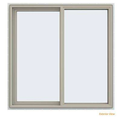 47.5 in. x 47.5 in. V-4500 Series Desert Sand Painted Vinyl Left-Handed Sliding Window with Fiberglass Mesh Screen