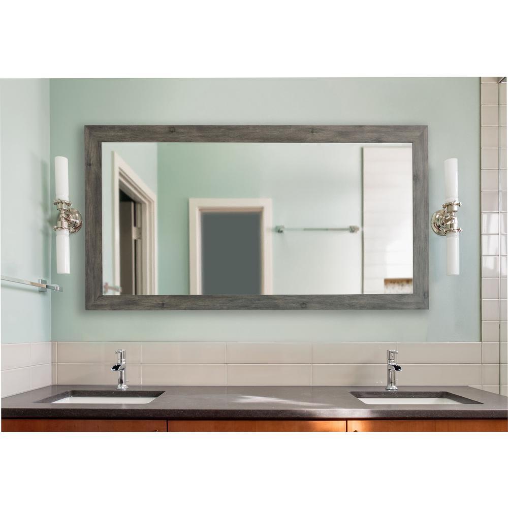 Null 78 In. X 39 In. Gray Barnwood Extra Large Vanity Mirror