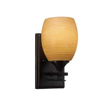 6.25 in. Dark Granite Sconce with 5 in. Cayenne Linen Glass