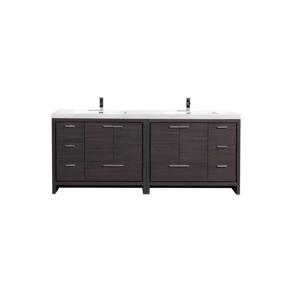Moreno Bath Dolce 84 In W Bath Vanity In Dark Gray Oak With Reinforced Acrylic Vanity Top In White With White Basins Md684wb The Home Depot