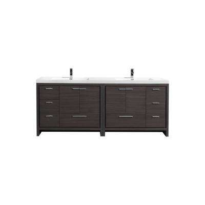 Dolce 84 in. W Bath Vanity in Dark Gray Oak with Reinforced Acrylic Vanity Top in White with White Basins