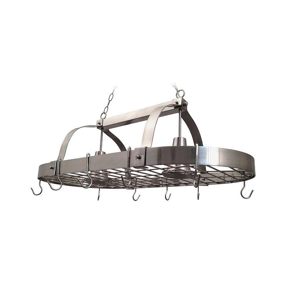 Elegant Designs 2 Light Brushed Nickel Kitchen Pot Rack With Hooks