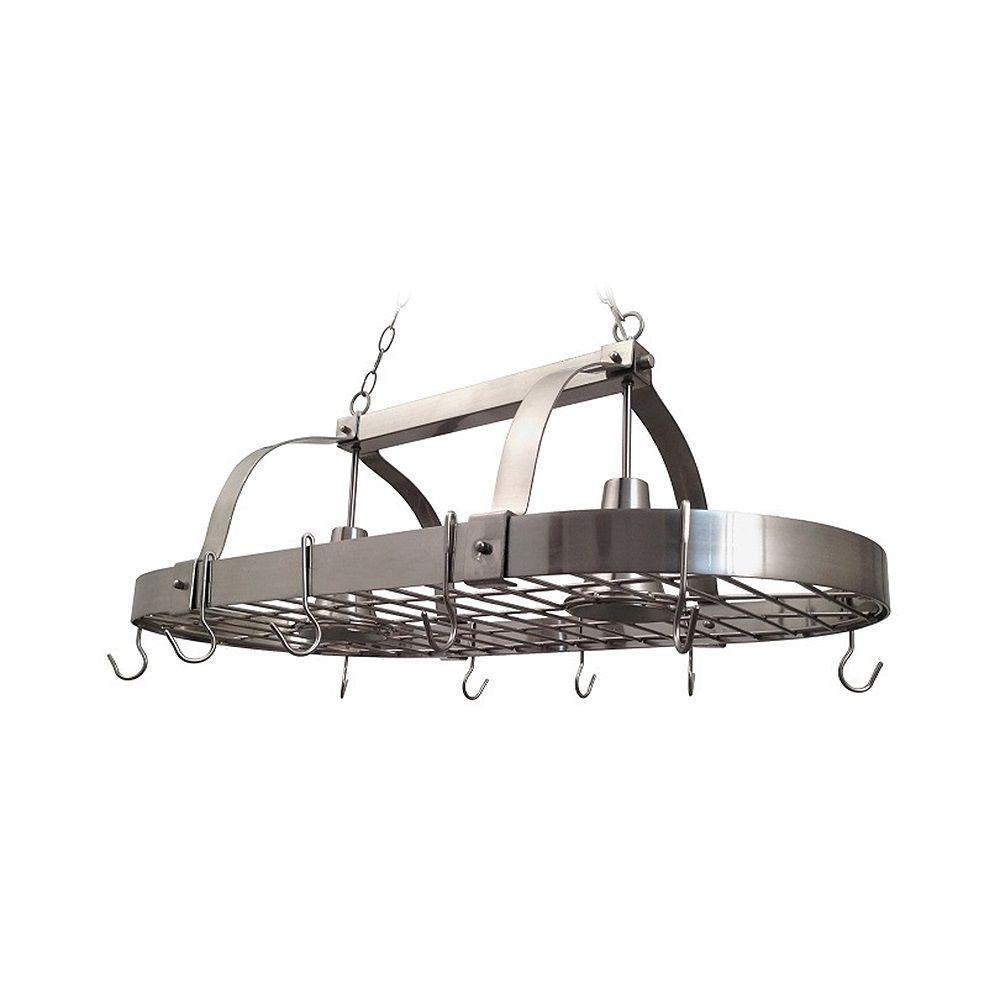 Elegant Designs 2-Light Brushed Nickel Kitchen Pot Rack Light with Hooks by Elegant Designs