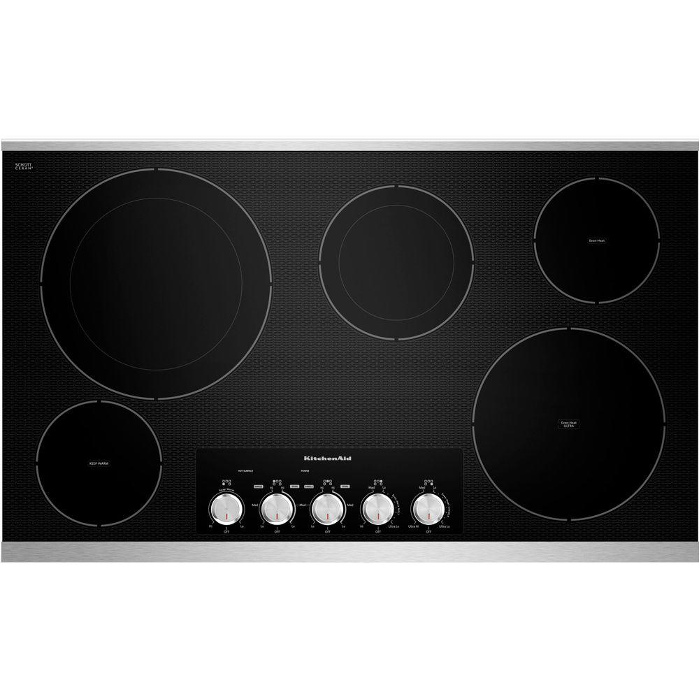 KitchenAid 36 In. Radiant Ceramic Glass Electric Cooktop In Stainless Steel  With 5 Elements Including