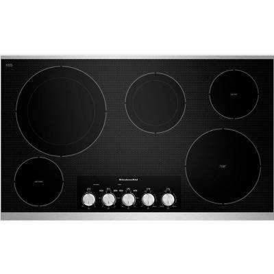 36 in. Radiant Ceramic Glass Electric Cooktop in Stainless Steel with 5 Elements Including Double-Ring Warming Elements