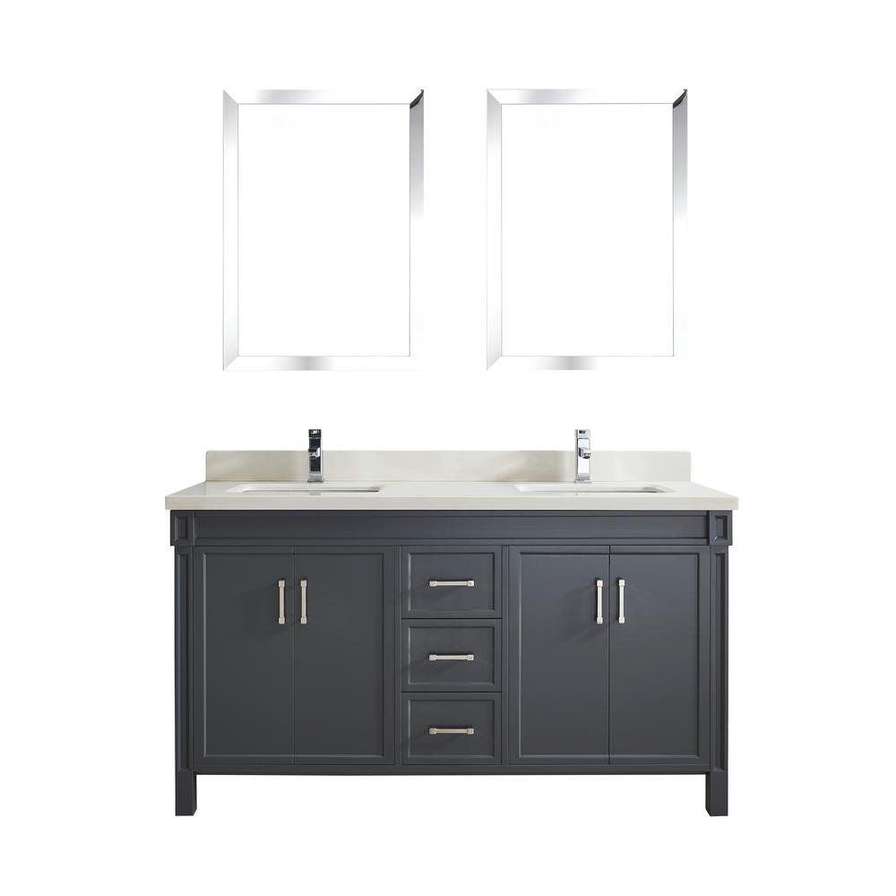 Studio Bathe Serrano 63 in. W x 22 in. D Vanity in Pepper Gray with Quartz Vanity Top in White with White Basin