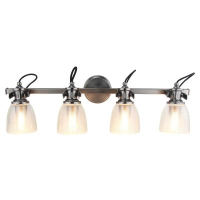 4-Light Brushed Nickel Vanity Light with Clear Ribbed Glass Shade