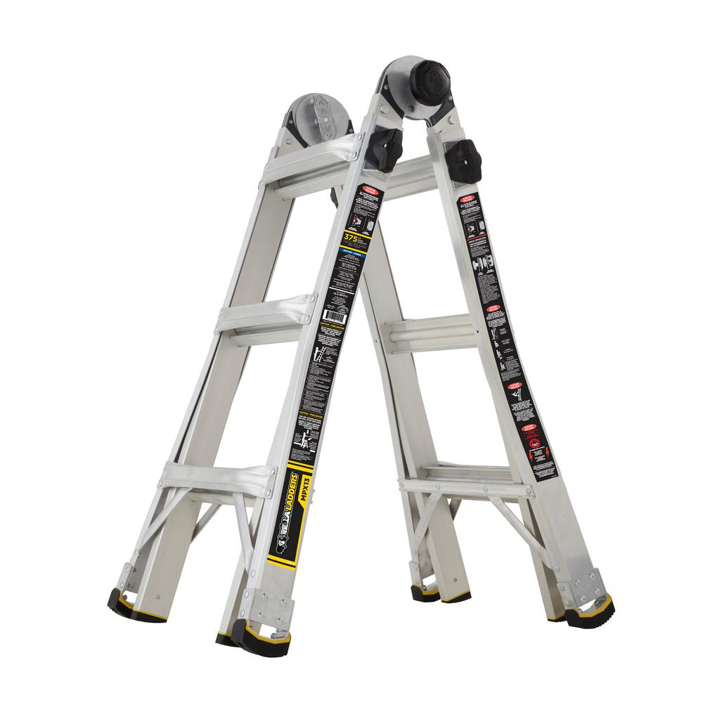 13 ft. MPX Aluminum Telescoping Multi-Position Ladder with 375 lb. Load