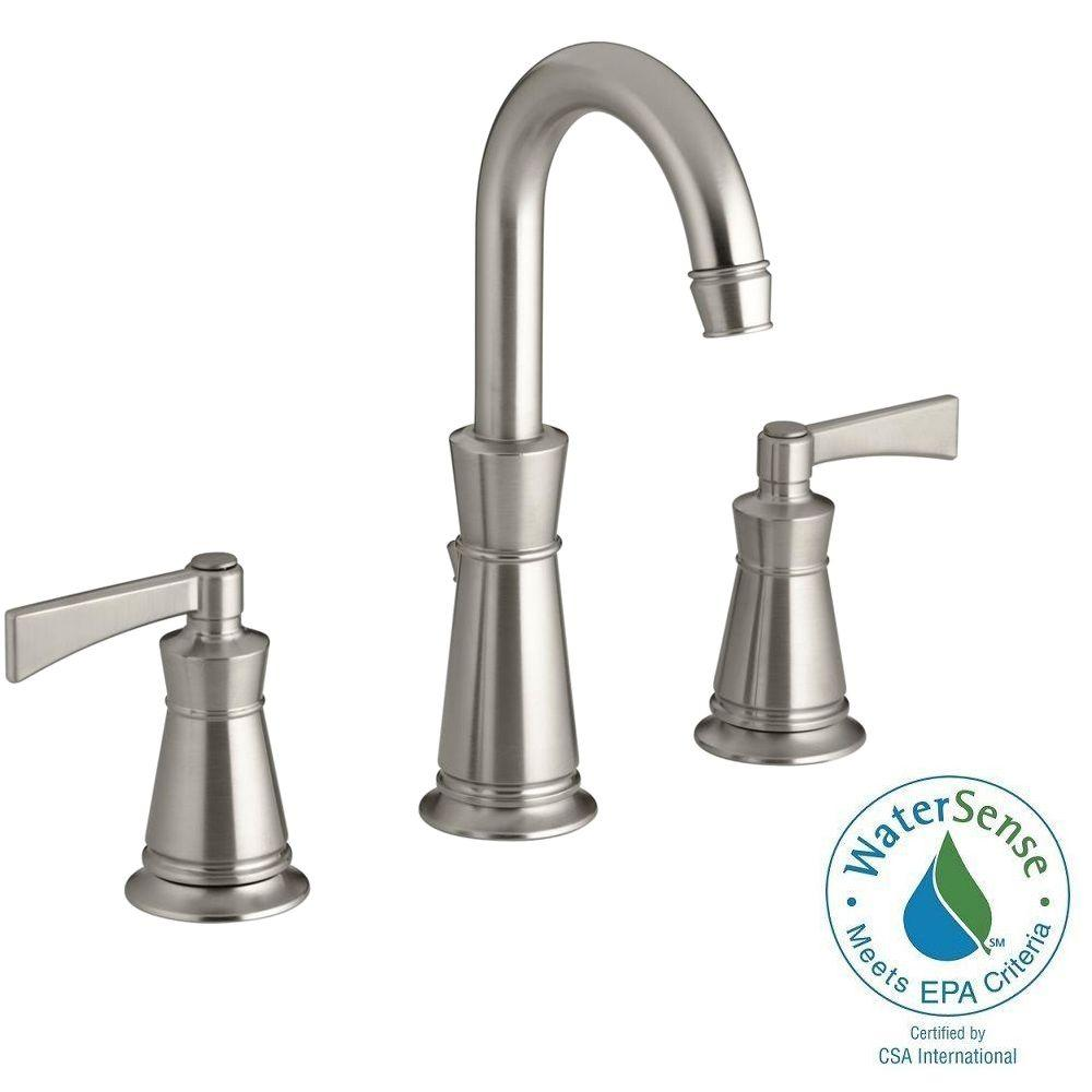 Kohler archer 8 in widespread 2 handle mid arc water for 8 bathroom faucet in brushed nickel