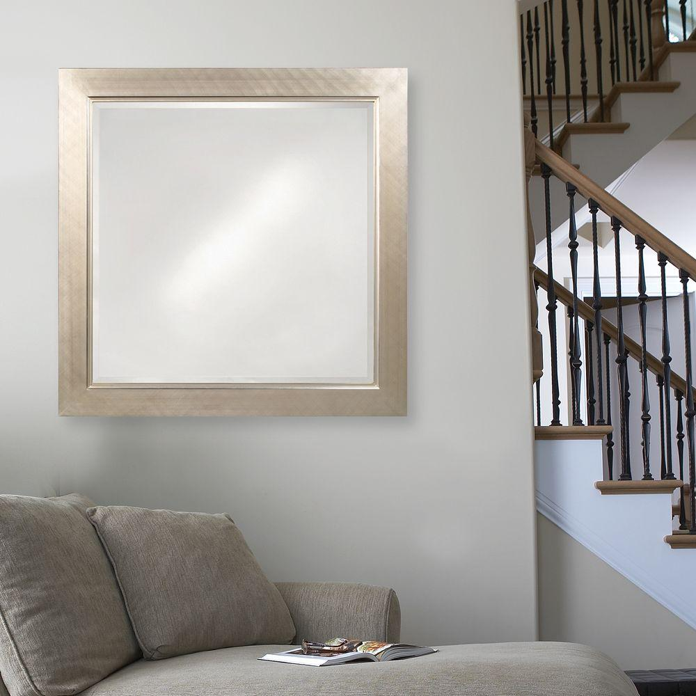 howard elliott 40 in x 40 in millennium silver square mirror 5036 the home depot. Black Bedroom Furniture Sets. Home Design Ideas