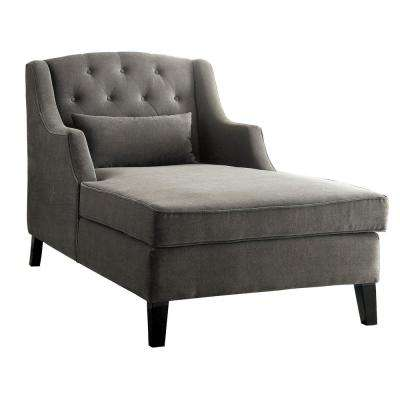 Roni Warm Gray Traditional Corduroy Chaise