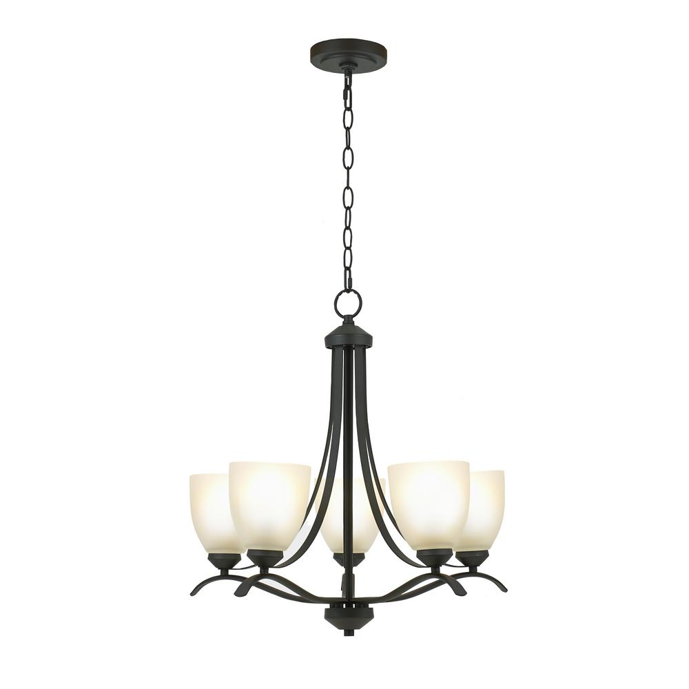 Alsy Alsy 5-Light Bronze Chandelier with Etched Glass Shades
