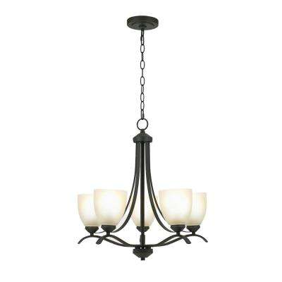 5-Light Bronze Chandelier with Etched Glass Shades