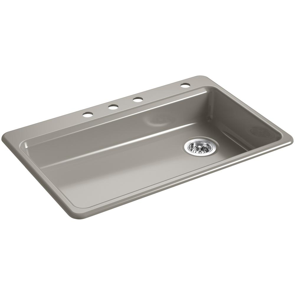 Riverby Drop-In Cast Iron 33 in. 4-Hole Single Bowl Kitchen Sink
