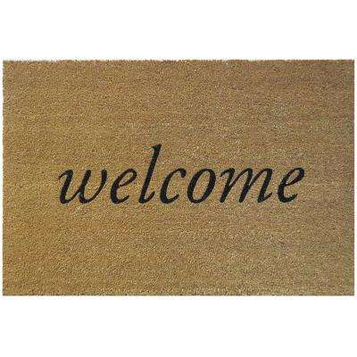Welcome 36 in. x 24 in. Slip Resistant Coir Door Mat