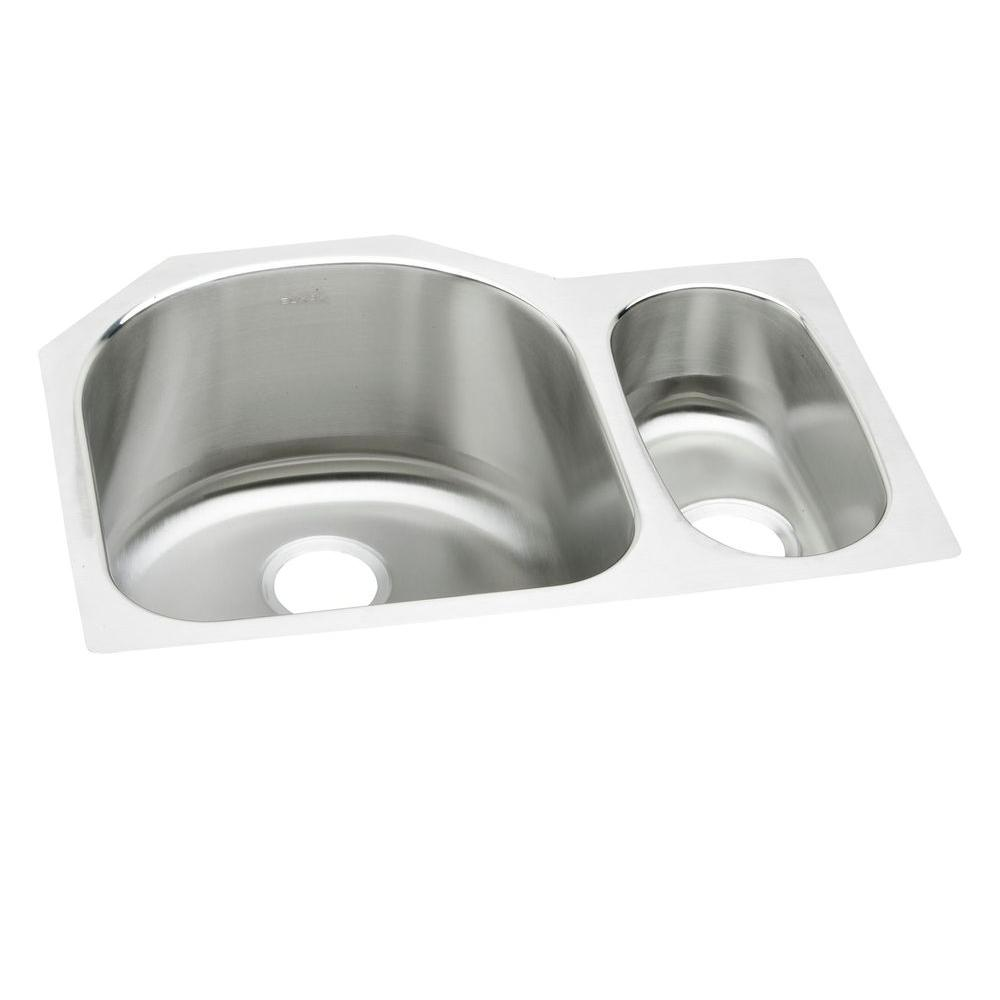 Elkay Lustertone Undermount Stainless Steel 27 In. Double Bowl Kitchen Sink