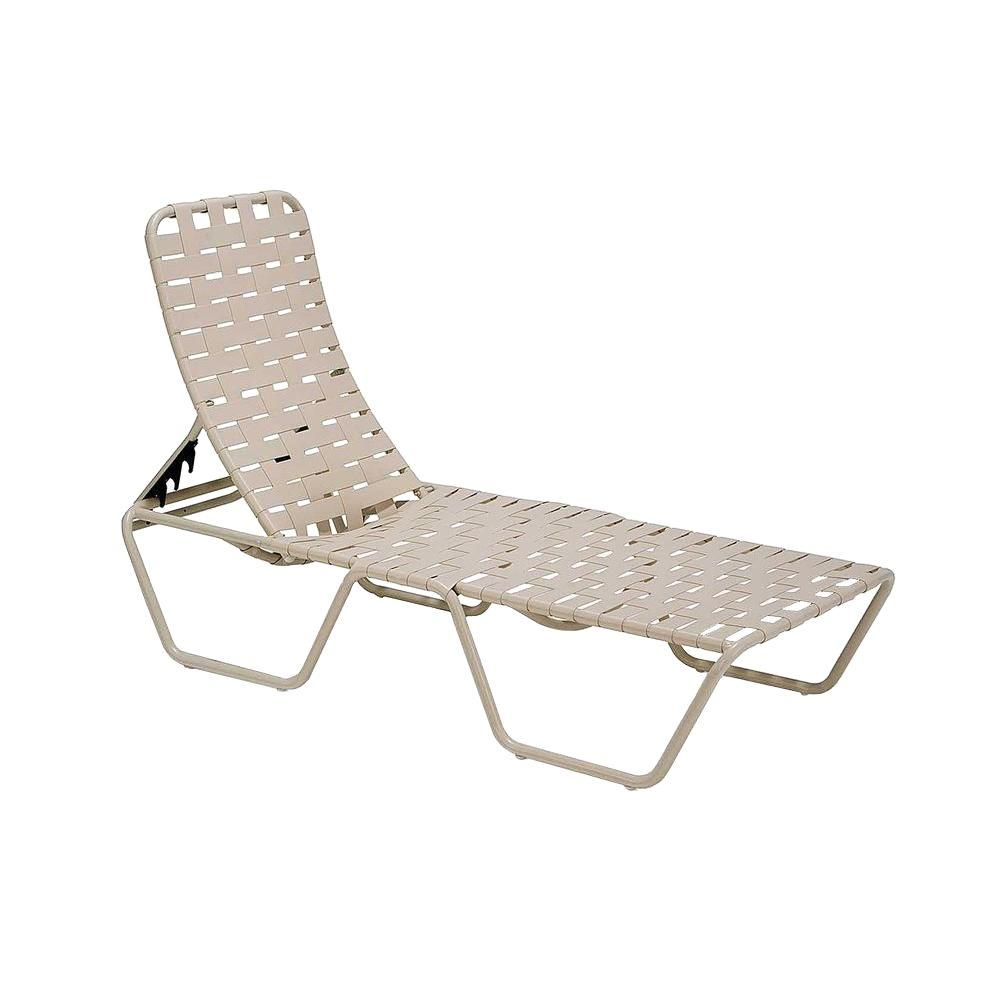 Tradewinds Lido Crossweave Contract Antique Bisque Patio Chaise Lounge