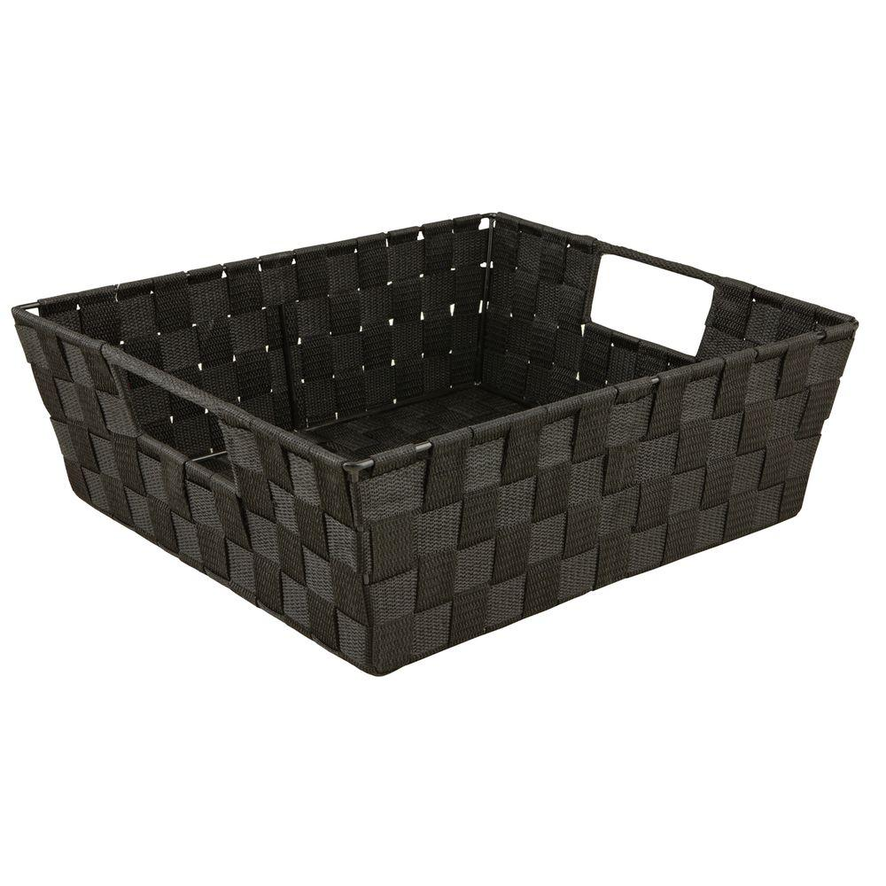 Simplify 5 In X 15 In Woven Strap Shelf Tote Bin In Black 25093