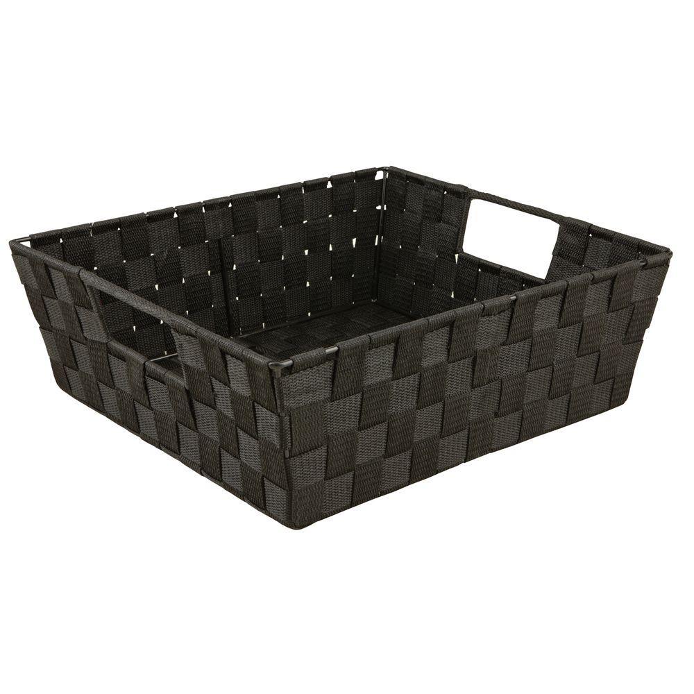 5 in. x 15 in. Woven Strap Shelf Tote Bin in Black