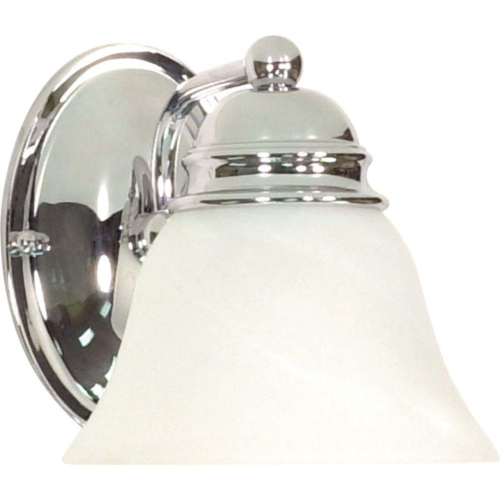 1-Light Polished Chrome Vanity Light with Alabaster Glass Bell Shade