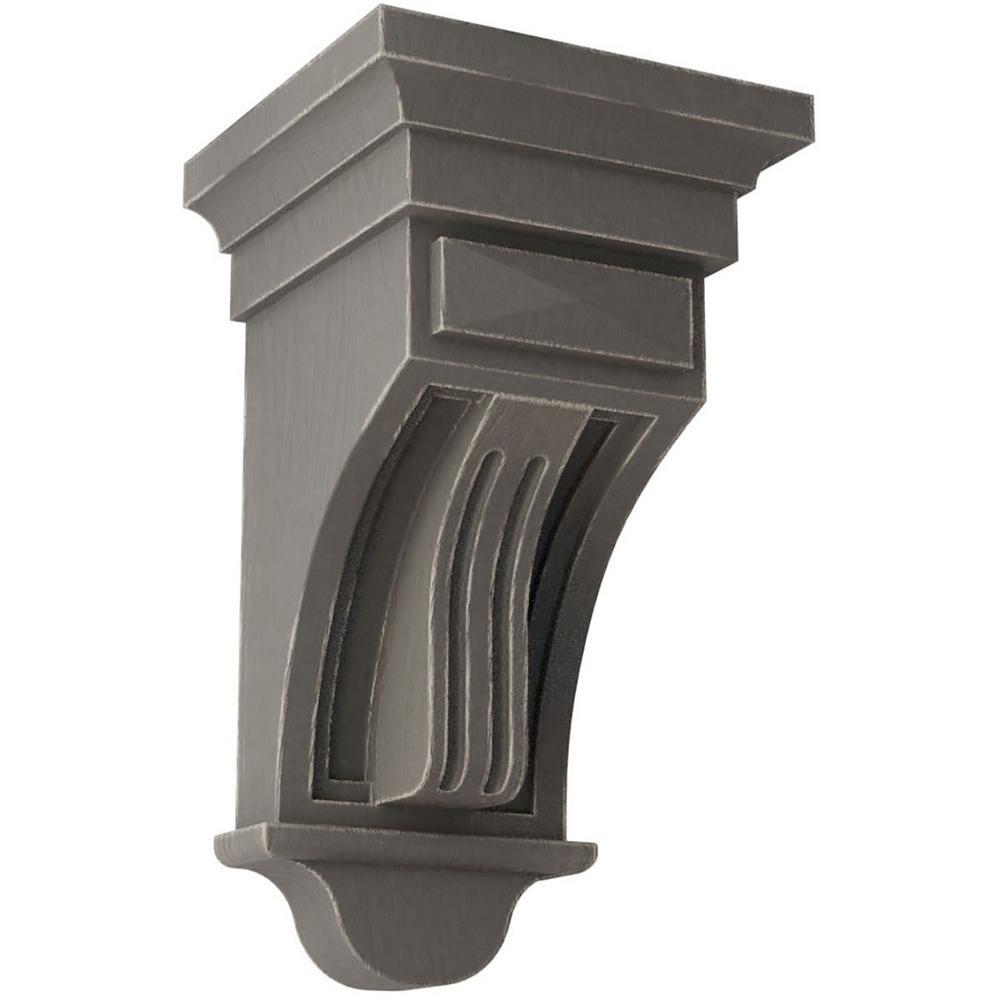 5-1/2 in. x 10 in. x 5-1/2 in. Reclaimed Grey Raised Fluting Wood Vintage Decor Corbel