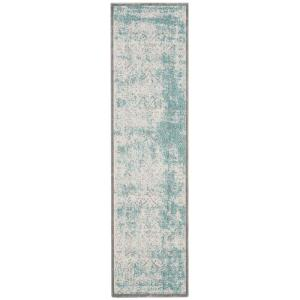 Passion Turquoise/Ivory 2 ft. x 10 ft. Runner Rug