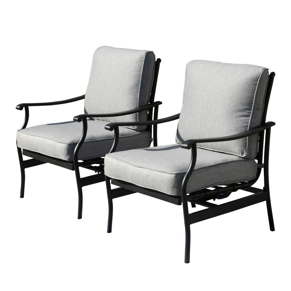 Patio Festival Metal Outdoor Rocking Chair With Gray Cushions 2 Pack Pf19104 G The Home Depot