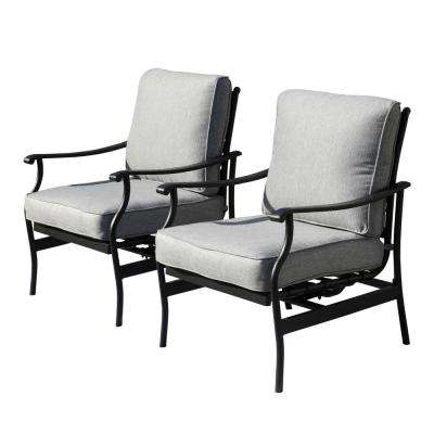 Metal Outdoor Rocking Chair with Gray Cushions (2-Pack)