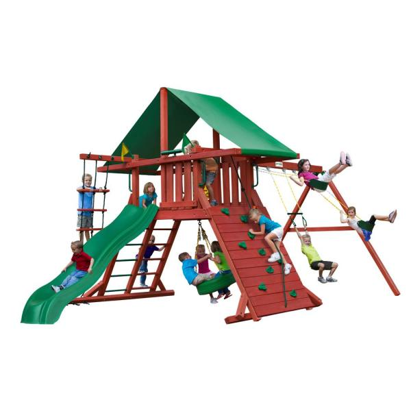 Sun Valley I Wooden Swing Set with Tire Swing