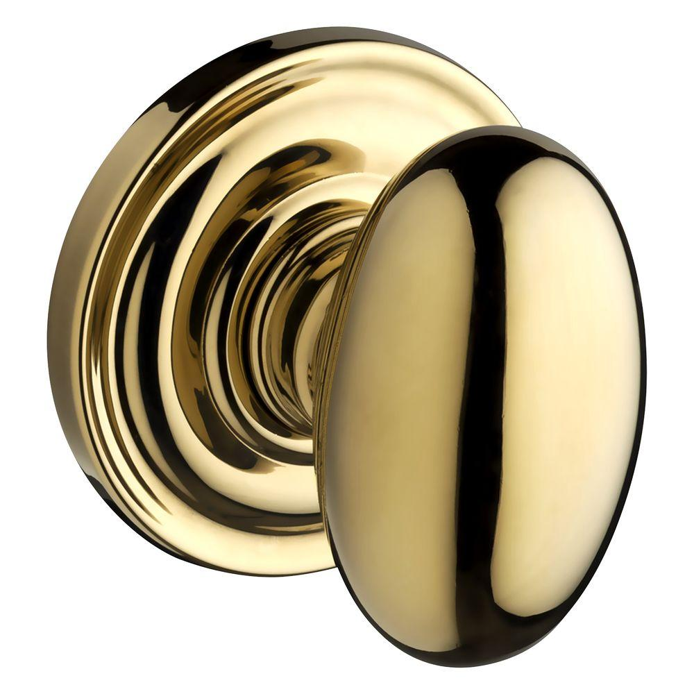 Baldwin Reserve Ellipse Lifetime Polished Brass Half-Dummy Knob with Traditional Round Rose