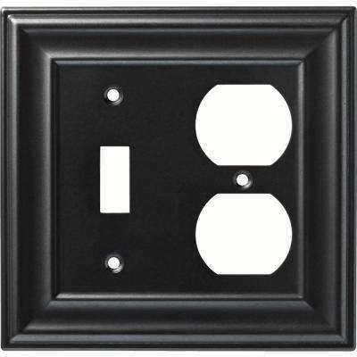1-Gang Winslow Single Switch and Duplex Wall Plate, Soft Iron