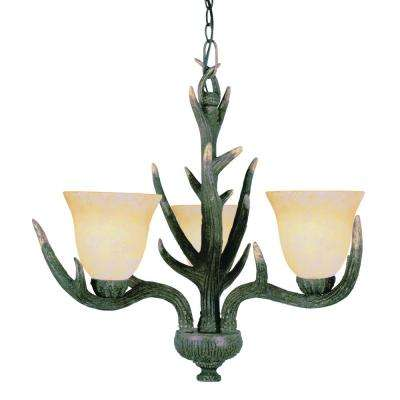 Western 3-Light Faux Deer Antler Chandelier with Textured Shades