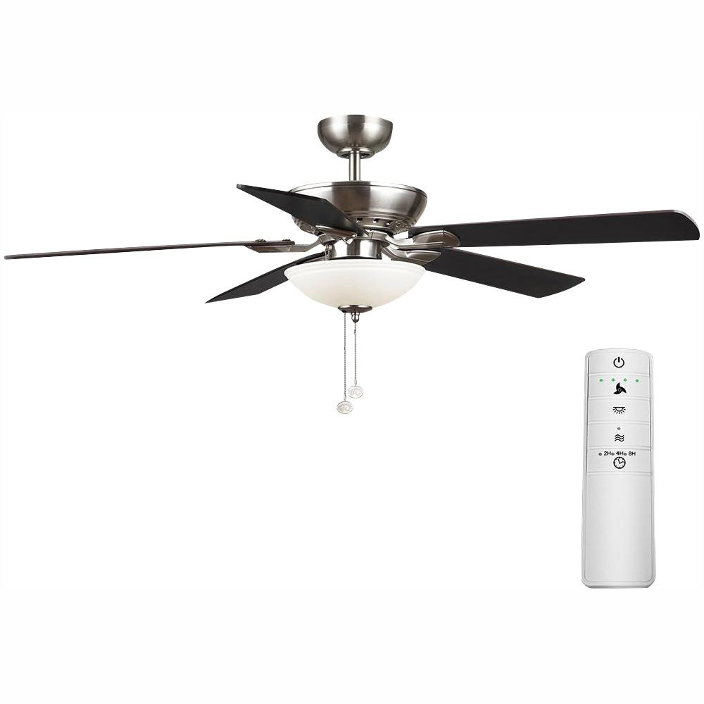 Hampton Bay Connor 52 in. LED Brushed Nickel Smart Ceiling Fan with Light Kit and WINK Remote Control