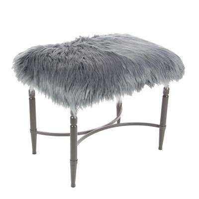 26 in. x 20 in. Metal and Faux Fur Gray Stool