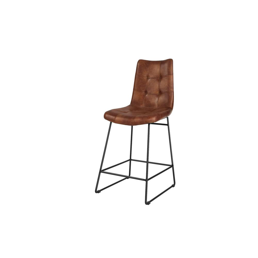 Home Decorators Collection Home Decorators Collection Ivers Black Metal Upholstered Counter Stool with Back and Antique Brown Seat (18.5 in W x 41 in. H)