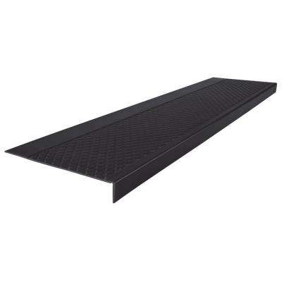 Diamond Profile Black 12 in. x 60 in. Rubber Square Nose Stair Tread Cover
