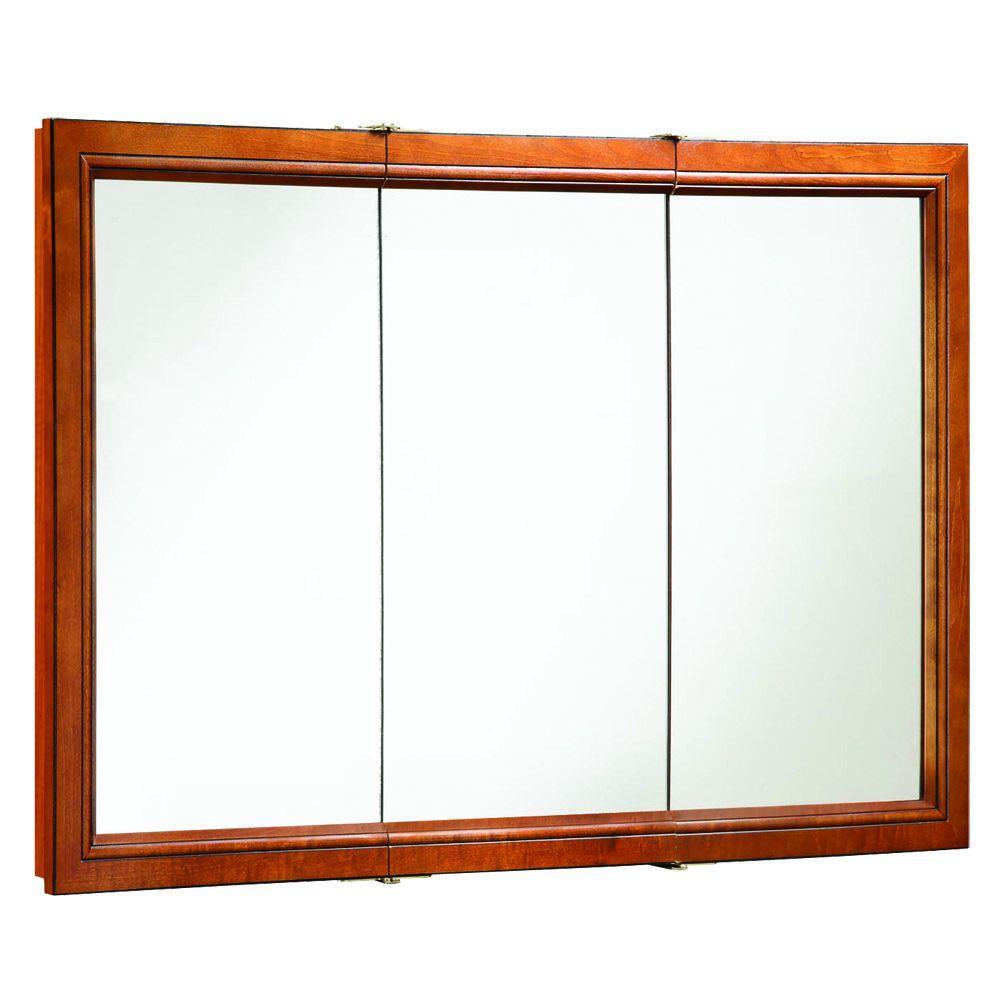 Design House Montclair 48 in. x 30 in. Surface-Mount Tri-View Medicine Cabinet in Chestnut Glaze