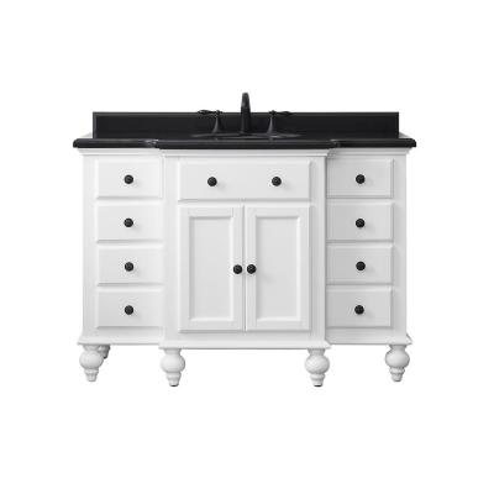Heartside 48 in. W x 23 in. D Vanity in White with Granite Vanity Top in Black with White Basin