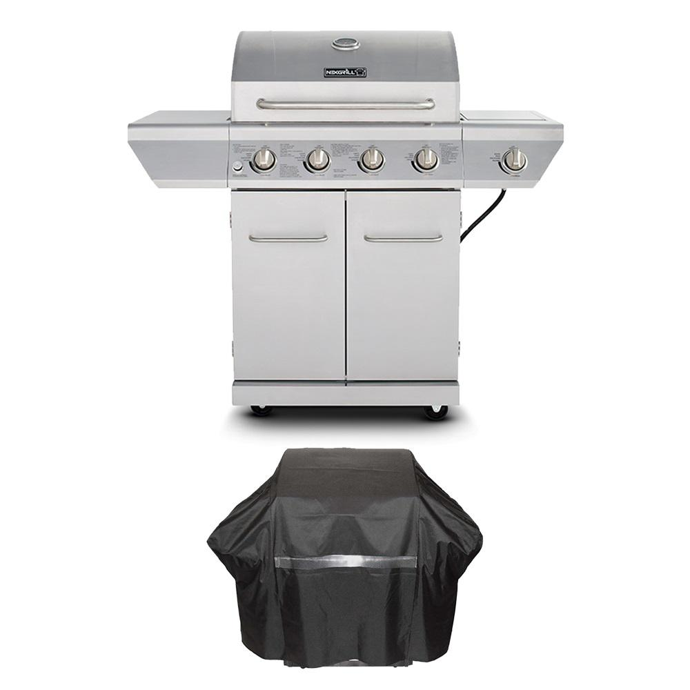 Nexgrill 4-Burner Propane Gas Grill in Stainless Steel with Side Burner and Stainless Steel Doors + Pvc cover